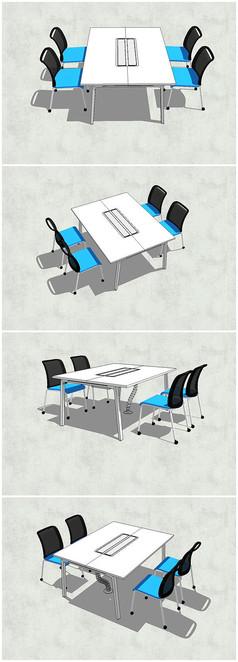 办公室小型会议桌SU模型