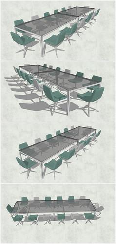 玻璃透明桌椅SU模型