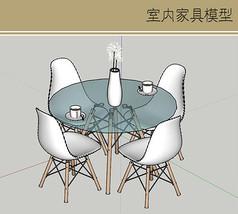 玻璃圆桌曲面座椅组合