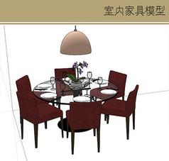玻璃圆桌模型