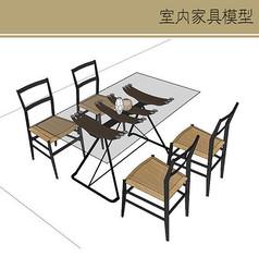 玻璃桌木凳组合