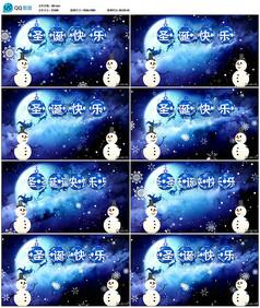 圣诞老人雪人背景视频