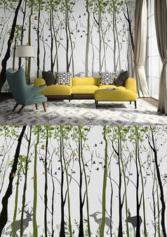 手绘抽象森林沙发电视背景墙