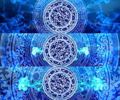 中國風水墨青花瓷視頻素材