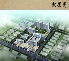 中心医院规划设计鸟瞰图