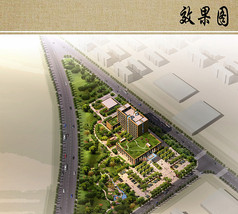 医院景观规划总体鸟瞰图