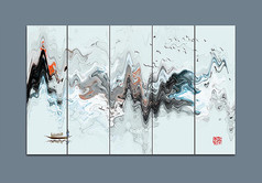 水墨山脉高山中国画