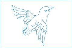 简约小鸟线描雕刻图案