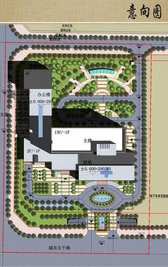 医院综合建筑楼总平面图