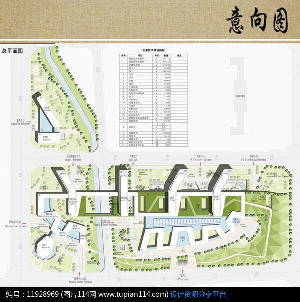 医院建筑规划彩色平面图