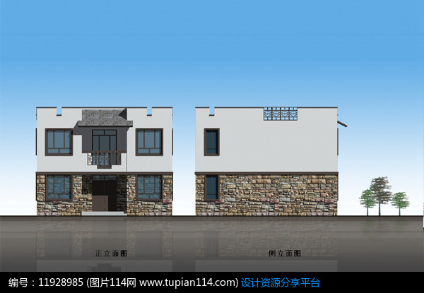 现代中式别墅住宅立面图