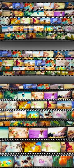 多胶片图片照片墙ae模板