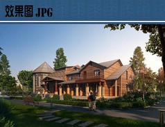 欧式别墅建筑景观效果图JPG