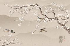 中式梅花飞鸟水墨风客厅电视背景