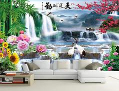 中式山水风景画电视沙发背景墙壁
