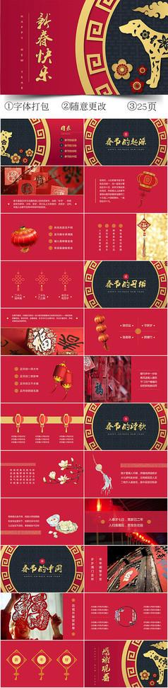 喜庆红色新春快乐主题PPT