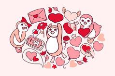 企鹅的爱插画