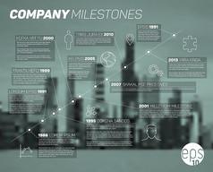 模糊城市建筑企业发展信息图矢量