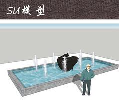 雕塑水池SU