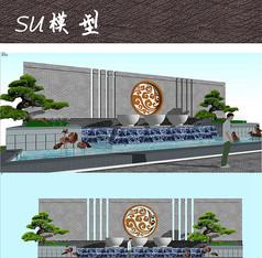 新中式水景墙SU