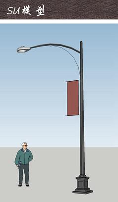 商业街区道旗灯柱