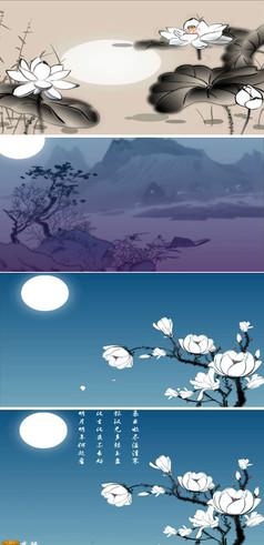 中國風荷花荷葉水墨視頻素材