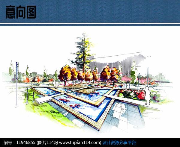 广场水景手绘效果图