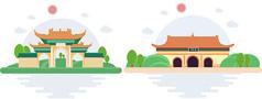 寺庙建筑插画矢量图素材