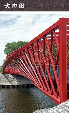 红色结构观光桥