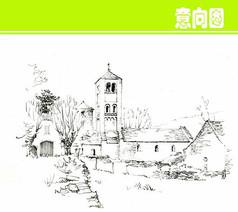 国外乡村建筑风景素描