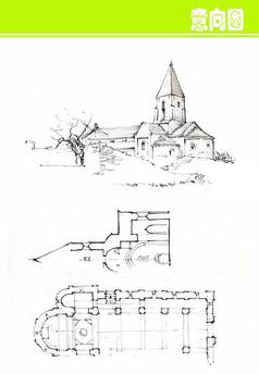 大型欧式建筑平面线描图