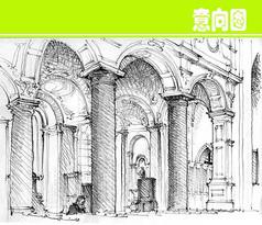 建筑拱门细节素描画