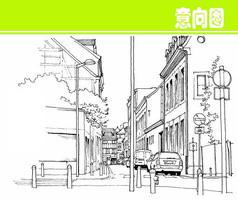 街道风景素描图