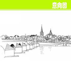 国外建筑群风景素描
