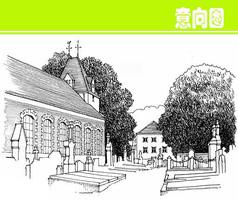 欧式建筑风景素描