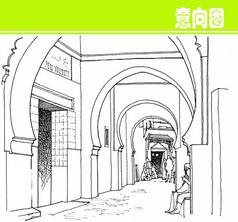 国外拱门素描画