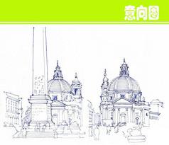 圆珠笔欧式建筑线描图