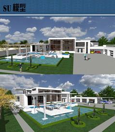 现代休闲别墅游泳池su模型