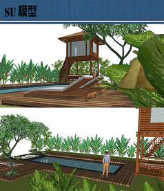 木制观景台私人游泳池su模型