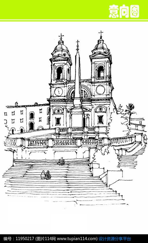 [原创] 钟楼欧式建筑素描画图片
