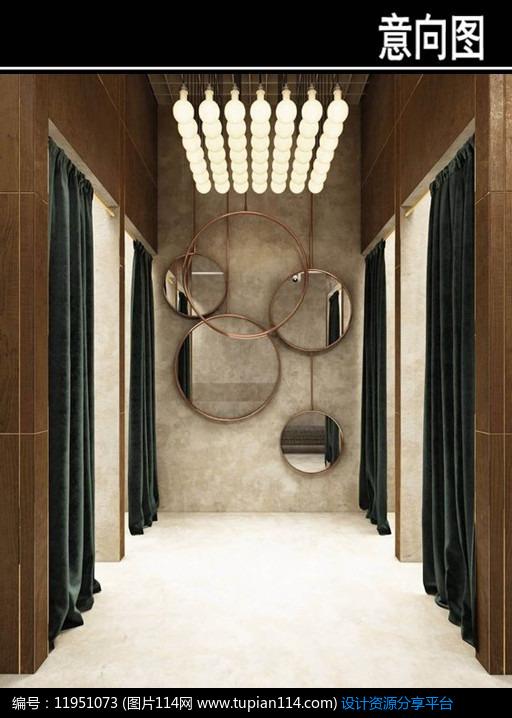 3d素材 方案意向 室内装修 欧式风服装店试衣间意向图