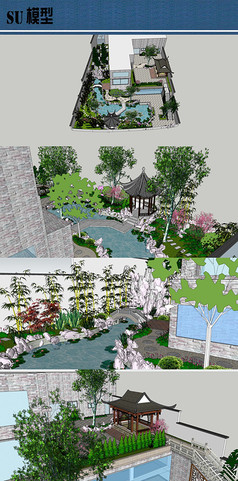 别墅中式私家花园su模型