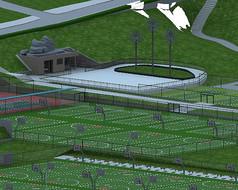 体育场地精细模型
