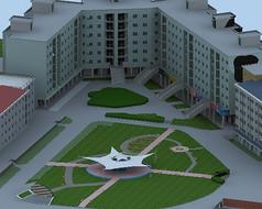 带景观广场的建筑模型
