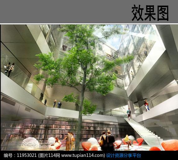 图书馆建筑中庭效果图,3d模型免费下载,3dmax模型,材质贴图,cad图库大全免费下载