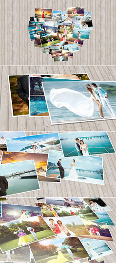 心形照片情人节婚礼相册模板