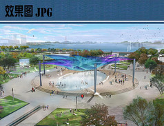 喷泉广场效果图