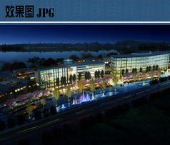 商业广场夜景鸟瞰图