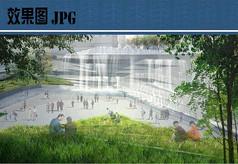 下沉广场水景设计效果图