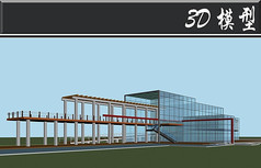 玻璃古建栈道3D模型